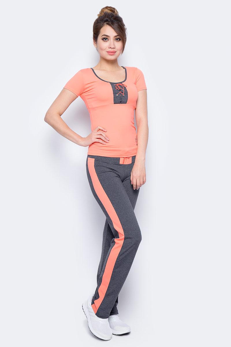 Футболка для фитнеса женская Grishko, цвет: оранжевый. AL- 3204. Размер 46AL- 3204Спортивная футболка выполнена с короткими рукавами. На груди футболка украшена контрастной вставкой с актуальной в этом сезоне шнуровкой. Модель выполнена из шелковистого, приятного на ощупь полиамида с эластаном в оптимальном для спортивных нагрузок сочетании. Футболка не сковывает движений и подчеркивает спортивное телосложение за счет визуально корректирующих фигуру линий. Материал отлично пропускает воздух, впитывает влагу и сохраняет форму.