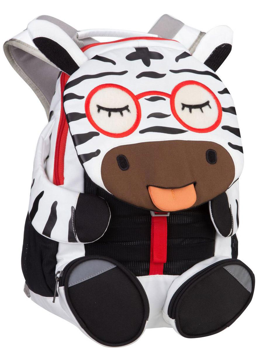 Affenzahn Рюкзак дошкольный Zebra ZenaAFZ-FAL-001-009Рюкзак дошкольный Affenzahn Zebra Zena, выполненный из прочного материала с дышащей спинкой, предназначен для детей раннего возраста.Предусмотрена возможность регулировки лямочной системы, в частности, нагрудного ремня по высоте. Рюкзак включает в себя вместительное внутреннее отделение с карманом на резинке, которое закрывается на застежку-молнию. Снаружи изделие дополнено двумя боковыми сетчатыми карманами и двумя передними карманами. Кроме того под клапаном в виде мордочки зебры находится открытый карман-сетка. На ярлыке в виде высовывающегося языка можно написать имя ребенка.Рюкзак оснащен ручкой для переноски и светоотражающими элементами на внешней стороне, повышающими безопасность на улице.