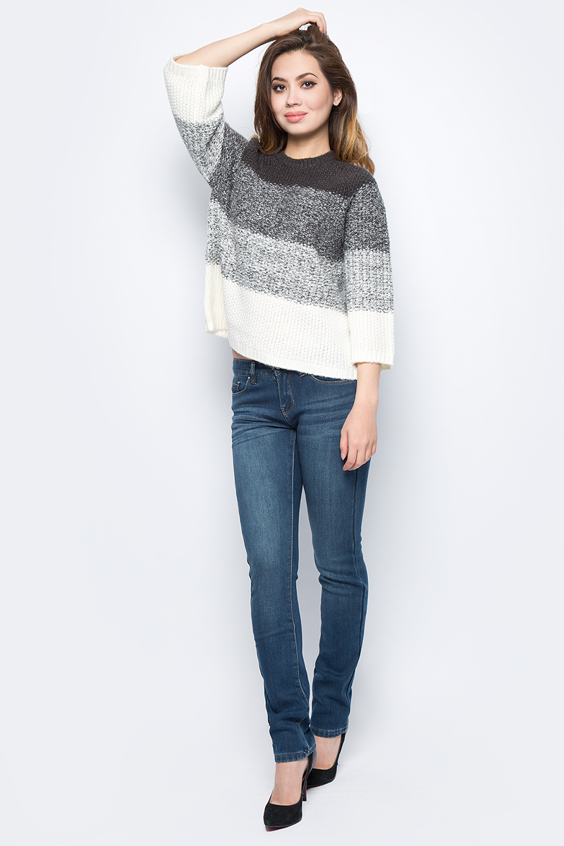 Джемпер женский Sela, цвет: темно-серый меланж. JR-114/1240-7452. Размер L (48)JR-114/1240-7452