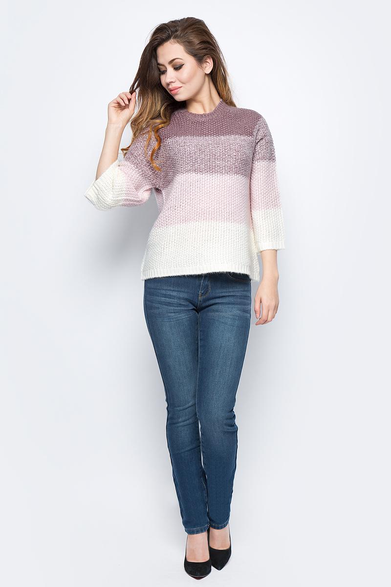 Джемпер женский Sela, цвет: серо-фиолетовый меланж. JR-114/1240-7452. Размер XS (42)JR-114/1240-7452