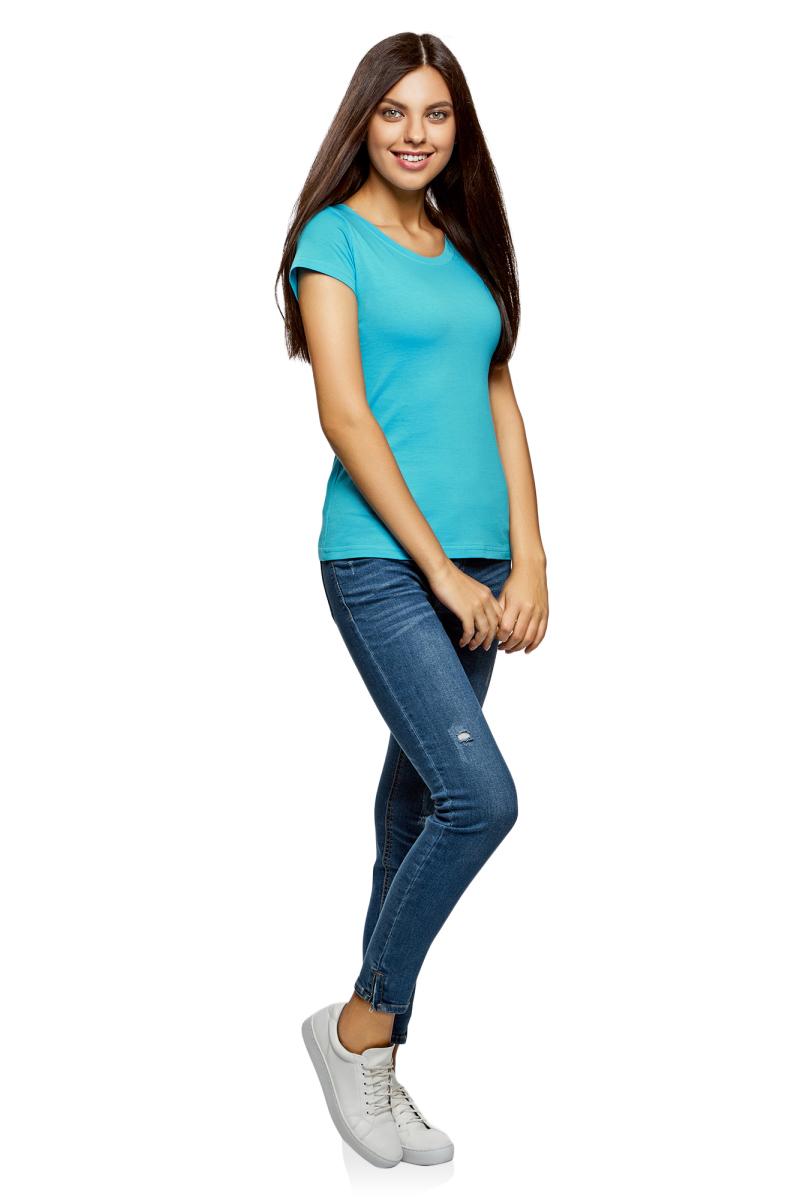 Футболка женская oodji Ultra, цвет: бирюзовый. 14701008B/46154/7301N. Размер L (48)14701008B/46154/7301NМодная женская футболка oodji Ultra изготовлена из натурального хлопка.Модель с круглым вырезом горловины и короткими рукавами выполнена в лаконичном дизайне.