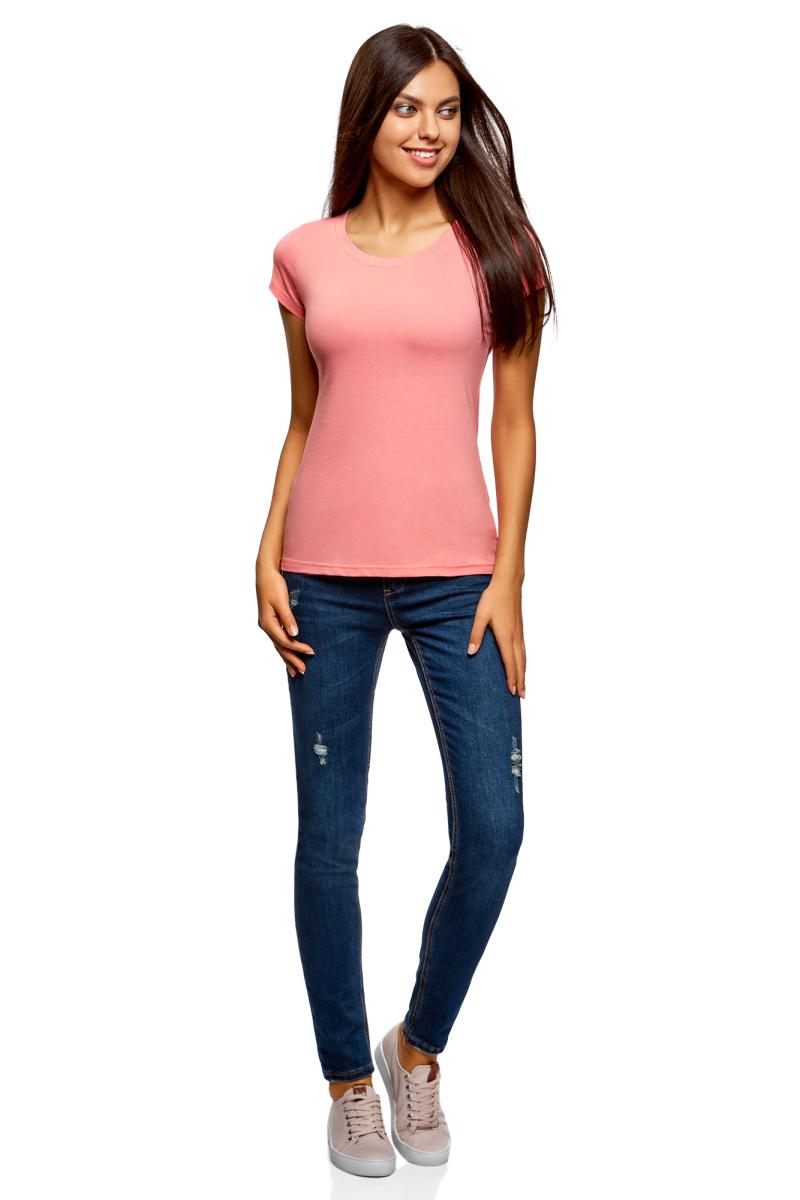 Футболка женская oodji Ultra, цвет: розовый. 14701008B/46154/4100N. Размер XL (50)14701008B/46154/4100NМодная женская футболка oodji Ultra изготовлена из натурального хлопка.Модель с круглым вырезом горловины и короткими рукавами выполнена в лаконичном дизайне.