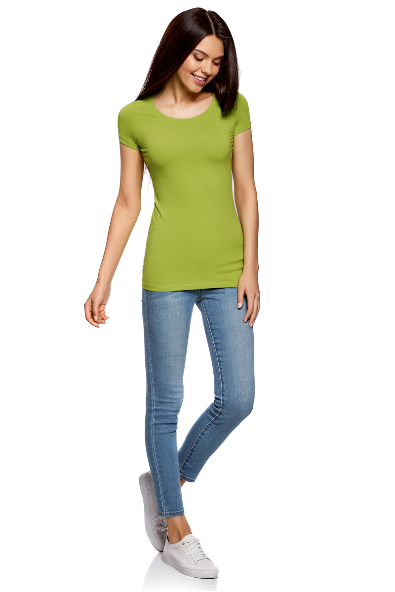 Футболка женская oodji Ultra, цвет: зеленый, 3 шт. 14701005T3/46147/6B00N. Размер M (46) футболка женская oodji ultra цвет светло серый меланж 3 шт 14701005t3 46147 2000m размер xl 50