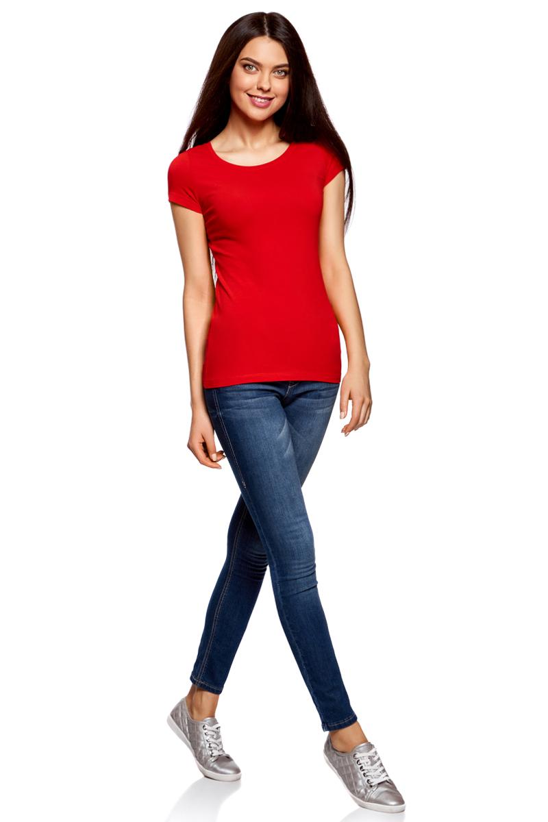 Футболка женская oodji Ultra, цвет: красный, 3 шт. 14701005T3/46147/4500N. Размер S (44)14701005T3/46147/4500NЖенская футболка oodji Ultra выполнена из эластичного хлопка. Модель с круглым вырезом горловины и короткими рукавами. В комплект входят три футболки.
