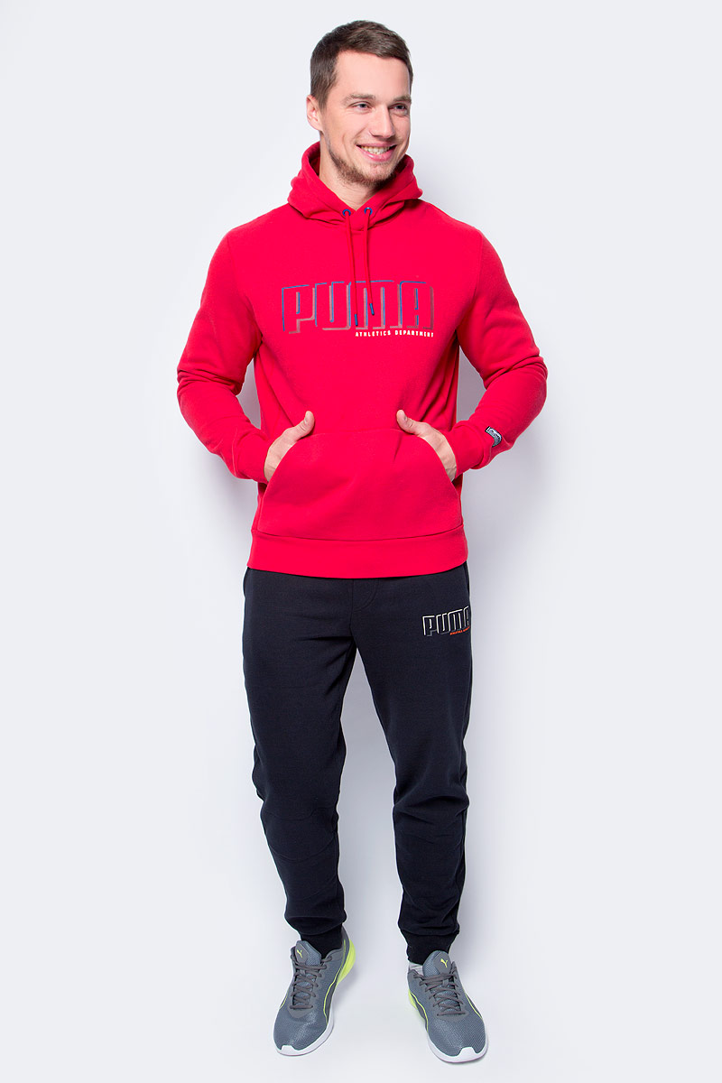 Толстовка мужская Puma STYLE Athletics Hoody FL, цвет: красный. 59248510. Размер XL (50/52) толстовка женская puma urban sports fz hoody цвет темно зеленый 59404414 размер m 44 46