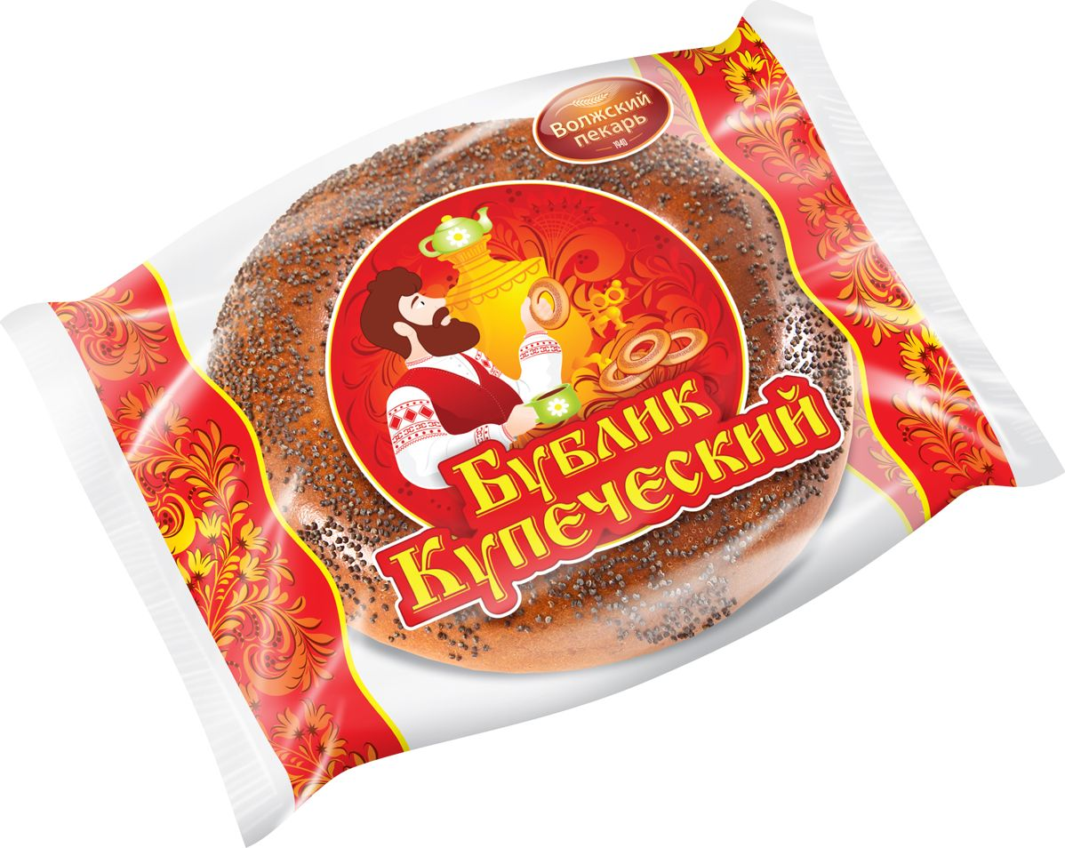 Волжский Пекарь Бублик Купеческий с маком, 100 г74Сдобный бублик из пшеничной муки, посыпается маком.