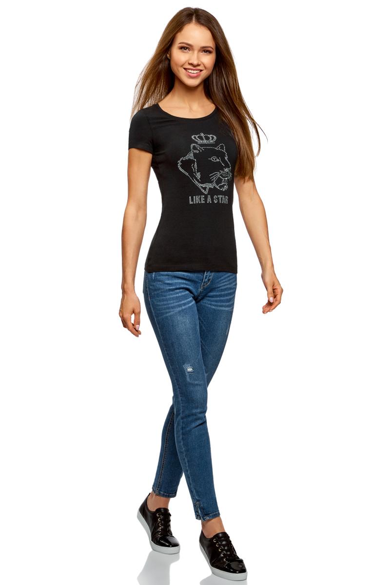 Футболка женская oodji Ultra, цвет: черный. 14701005-19/46147/2991P. Размер XL (50)14701005-19/46147/2991PБазовая футболка от oodji выполнена из эластичного хлопкового трикотажа. Модель с короткими рукавами и круглым вырезом горловины на груди оформлена аппликацией из страз.