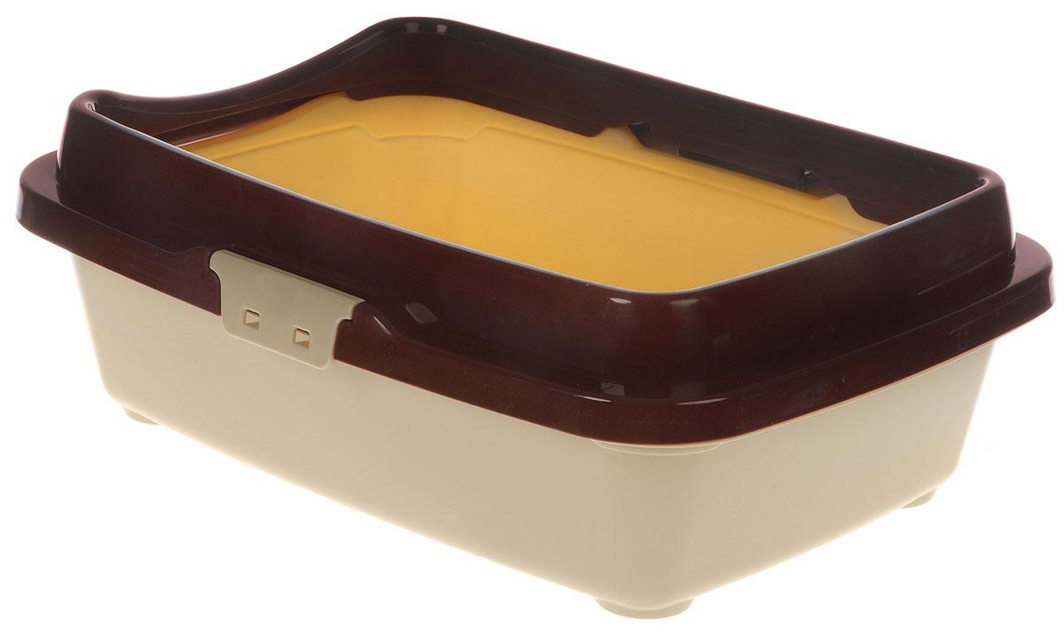 Туалет для котят DD Style Догуш, с бортом и сеткой, цвет: коричневый, бежевый, 26,5 х 36,5 х 12,5 смТуалет Догуш для котят полн.комплектация кор.-беж.(уп.20) арт.232Туалет для котят DD Style Догуш изготовлен из качественного прочного пластика. Высокий борт, прикрепленный по периметру лотка, удобно защелкивается и предотвращает разбрасывание наполнителя. Благодаря внутренней сетке, туалет можно использовать как с наполнителем, так и без него. Это самый простой в употреблении предмет обихода для котят.Туалет легко моется водой.