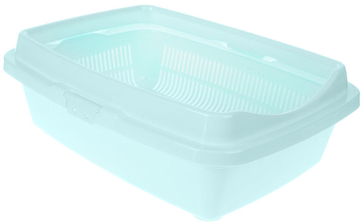 Туалет для кошек DD Style Догуш, с бортом и сеткой, цвет: ментоловый, 36 х 49,5 х 16,7 смТуалет для кошек бол.полн.комплектация ментол.(уп.15) арт.238Туалет для кошек DD Style Догуш изготовлен из качественного прочного пластика. Высокий борт, прикрепленный по периметру лотка, удобно защелкивается и предотвращает разбрасывание наполнителя. Благодаря внутренней сетке, туалет можно использовать как с наполнителем, так и без него. Это самый простой в употреблении предмет обихода для кошек и котов.Туалет легко моется водой.