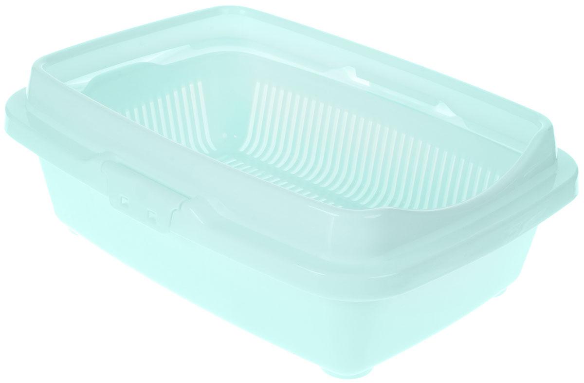 Туалет для котят DD Style Догуш, с бортом и сеткой, цвет: ментоловый, 26,5 х 36,5 х 12,5 смТуалет Догуш для котят полн.комплектация ментол.(уп.20) арт.232Туалет для котят DD Style Догуш изготовлен из качественного прочного пластика. Высокий борт, прикрепленный по периметру лотка, удобно защелкивается и предотвращает разбрасывание наполнителя. Благодаря внутренней сетке, туалет можно использовать как с наполнителем, так и без него. Это самый простой в употреблении предмет обихода для котят.Туалет легко моется водой.