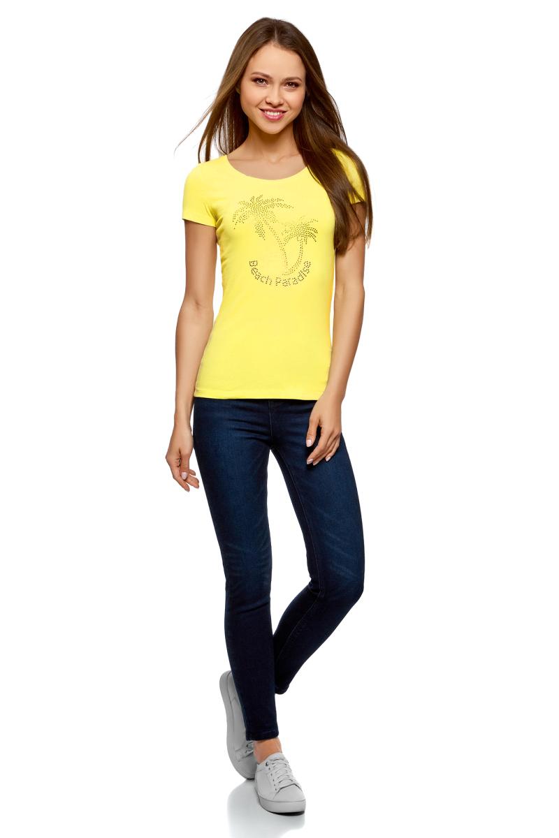 Футболка женская oodji Ultra, цвет: желтый. 14701005-17/46147/6719P. Размер XL (50)14701005-17/46147/6719PБазовая футболка от oodji выполнена из эластичного хлопкового трикотажа. Модель с короткими рукавами и круглым вырезом горловины на груди оформлена аппликацией из страз.