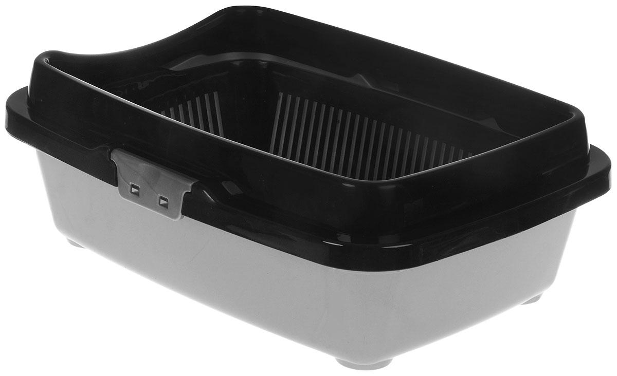 Туалет для кошек DD Style Догуш, с бортом и сеткой, цвет: черный, серебристый, 32,5 х 43 х 15,5 смТуалет Догуш для кошек полн.комплектация чёрн.-серебр.(уп.18) арт.235Туалет для кошек DD Style Догуш изготовлен из качественного прочного пластика. Высокий борт, прикрепленный по периметру лотка, удобно защелкивается и предотвращает разбрасывание наполнителя. Благодаря внутренней сетке, туалет можно использовать как с наполнителем, так и без него. Это самый простой в употреблении предмет обихода для кошек и котов.Туалет легко моется водой.