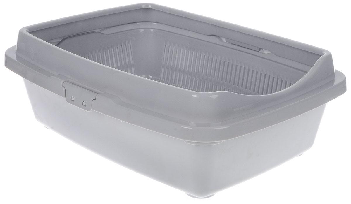 Туалет для кошек DD Style Догуш, с бортом и сеткой, цвет: светло-серый, 36 х 49,5 х 16,7 смТуалет для кошек бол.полн.комплектация светло-серый(уп.15) арт.238Туалет для кошек DD Style Догуш изготовлен из качественного прочного пластика. Высокий борт, прикрепленный по периметру лотка, удобно защелкивается и предотвращает разбрасывание наполнителя. Благодаря внутренней сетке, туалет можно использовать как с наполнителем, так и без него. Это самый простой в употреблении предмет обихода для кошек и котов.Туалет легко моется водой.
