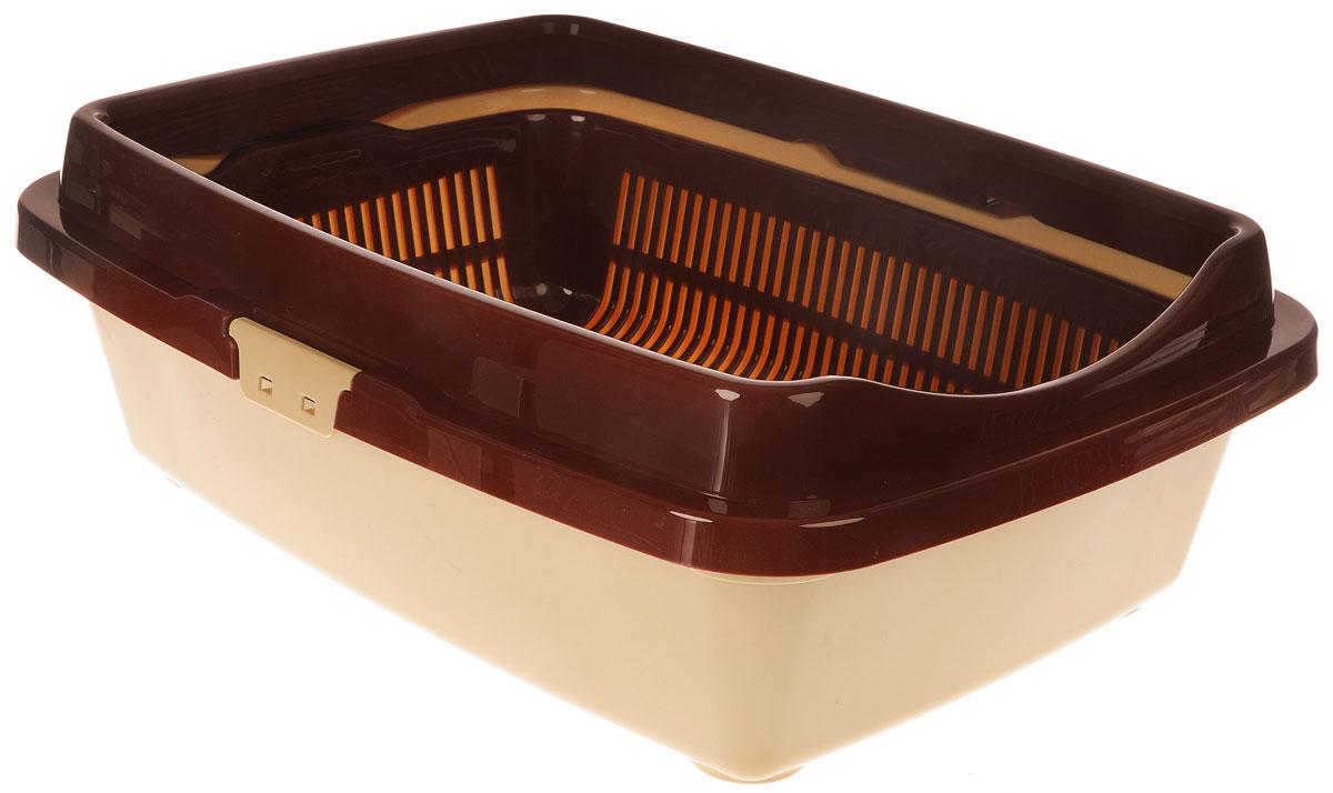 Туалет для кошек DD Style Догуш, с бортом и сеткой, цвет: коричневый, бежевый, 36 х 49,5 х 16,7 см клей активатор для ремонта шин done deal dd 0365