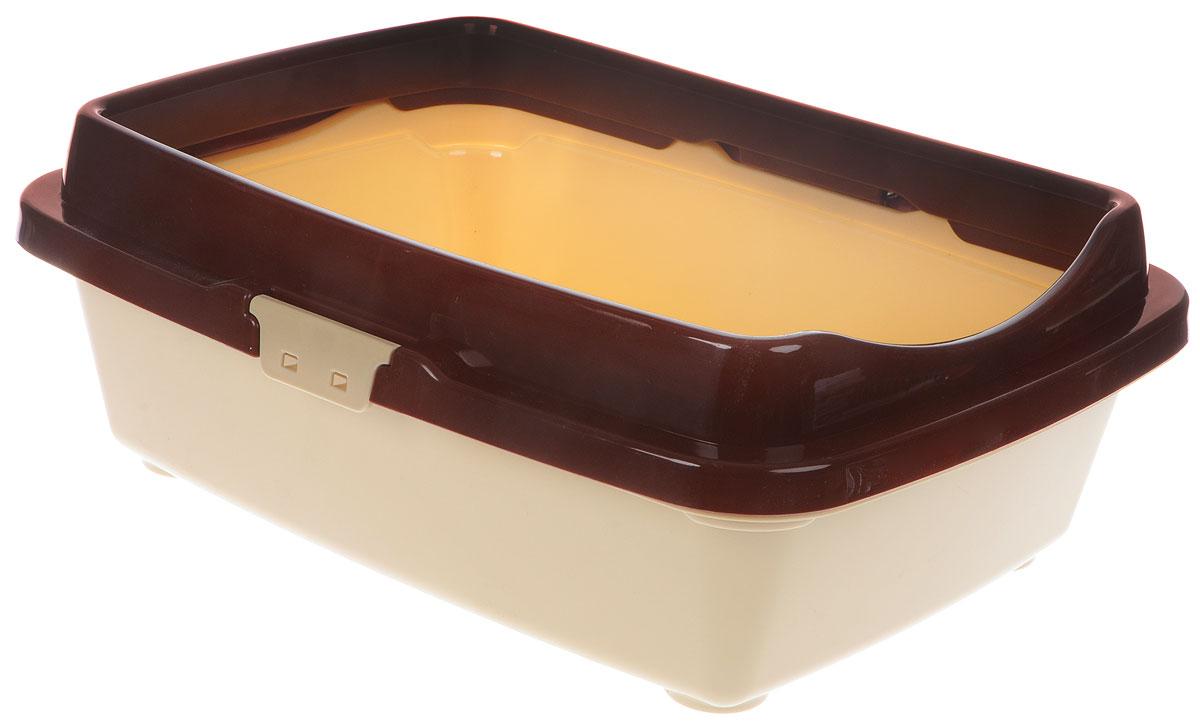 Туалет для кошек DD Style Догуш, с бортом, цвет: коричневый, бежевый, 32,5 х 43 х 15,5 смТуалет Догуш для кошек с бортом кор.-беж.(уп.25) арт.234Туалет для кошек DD Style Догуш изготовлен из качественного прочного пластика. Высокий борт, прикрепленный по периметру лотка, удобно защелкивается и предотвращает разбрасывание наполнителя. Это самый простой в употреблении предмет обихода для кошек и котов.Туалет легко моется водой.