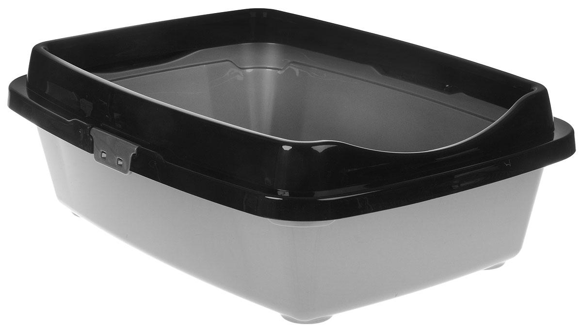 Туалет для кошек DD Style Догуш, с бортом, цвет: черный, серебристый, 36 х 49,5 х 16,7 смТуалет для кошек бол. с бортом чёрн.-серебр.(уп.20) арт.237Туалет для кошек DD Style Догуш изготовлен из качественного прочного пластика. Высокий борт, прикрепленный по периметру лотка, удобно защелкивается и предотвращает разбрасывание наполнителя. Это самый простой в употреблении предмет обихода для кошек и котов.Туалет легко моется водой.