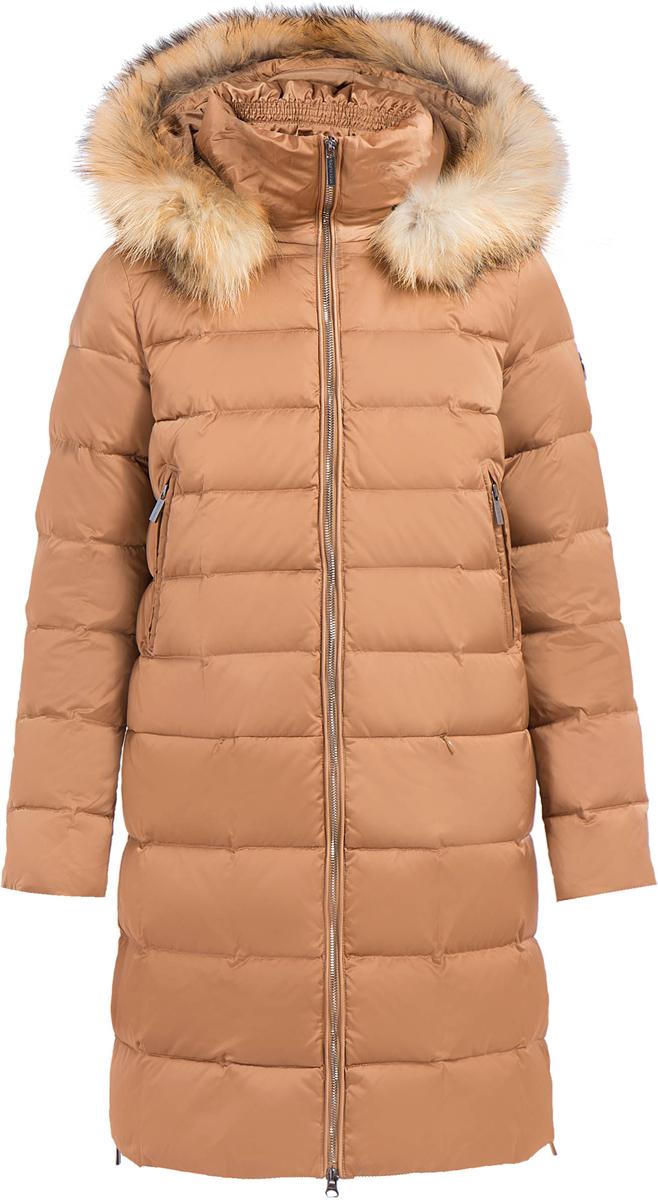 Пальто женское Finn Flare, цвет: коричневый. W17-32005_611. Размер S (44)W17-32005_611Пальто Finn Flare изготовлено из качественного полиэстера с утеплителем. Модель с длинными рукавами и капюшоном с мехом застегивается на молнию. Пальто дополнено прорезными карманами на застежках-молниях. По бокам изделия расположены металлические молнии.