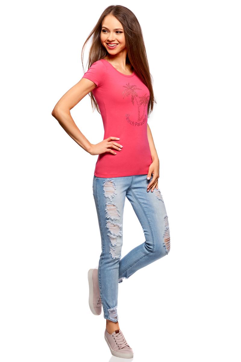 Футболка женская oodji Ultra, цвет: ярко-розовый. 14701005-17/46147/4D19P. Размер S (44)14701005-17/46147/4D19PБазовая футболка от oodji выполнена из эластичного хлопкового трикотажа. Модель с короткими рукавами и круглым вырезом горловины на груди оформлена аппликацией из страз.