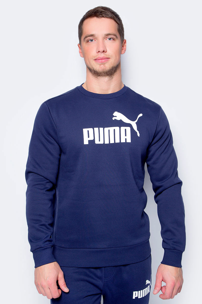 Свитшот мужской Puma ESS No.1 Crew Sweat, Fl, цвет: темно-синий. 83825206. Размер XXL (52/54) puma ess sweat pant fl w