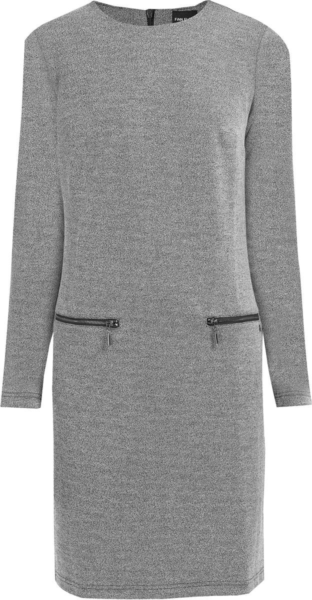 Платье Finn Flare, цвет: серый. W17-32026_205. Размер M (46)W17-32026_205Стильное платье Finn Flare изготовлено из качественного смесового материала. Модель с длинными рукавами и круглым вырезом дополнена прорезными карманами на молниях. Платье застегивается сзади на молнию.