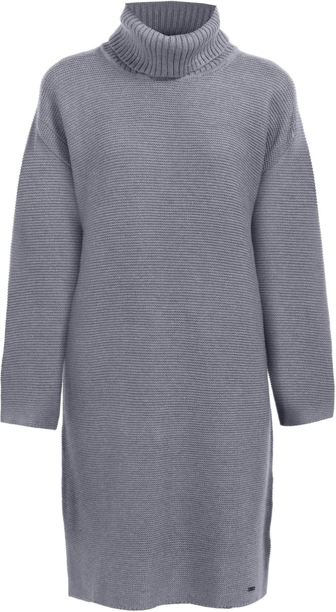 Платье Finn Flare, цвет: серый. W17-32115_205. Размер L (48)W17-32115_205Вязаное платье Finn Flare изготовлено из качественного смесового материала. Модель выполнена с длинными рукавами и высоким воротником. Платье-мини свободного кроя.