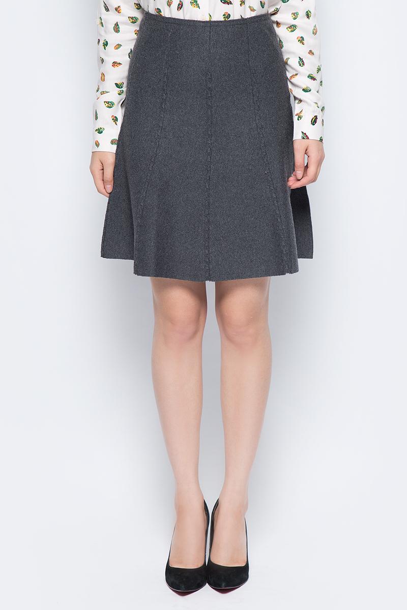 Юбка женская Sela, цвет: темно-серый меланж. SKsw-118/875-7452. Размер M (46)