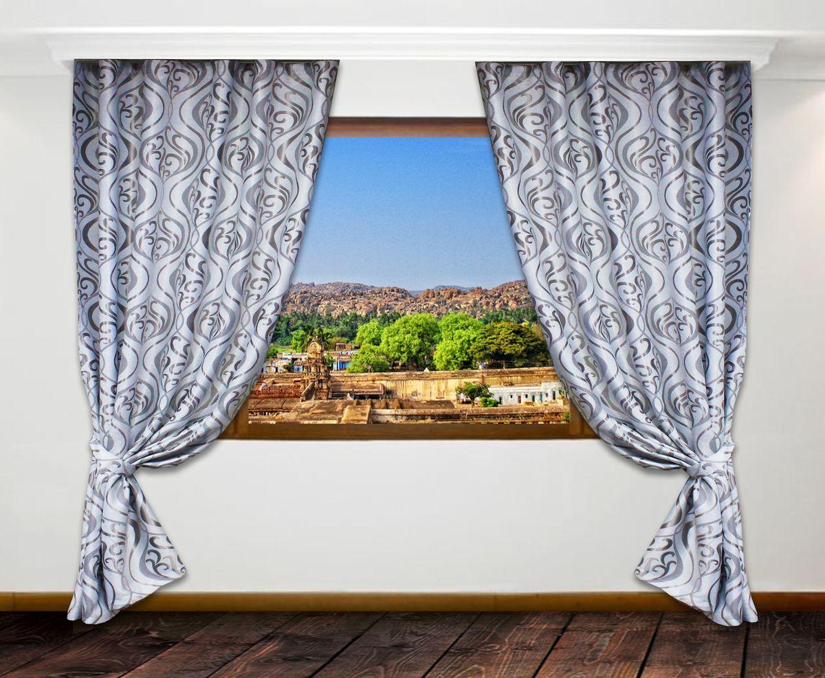 Портьеры Amore Mio Блэкаут, цвет: серый, высота 250 см, 2 шт57345Комплект штор на шторной ленте с двумя подхватами. Плотная светло-серая ткань с деликатным сатиновым блеском. Жаккардовый рисунок выполнен двумя разными стилями в оттенках серого. Такой комплект портьер добавит особого шарма вашему интерьеру.