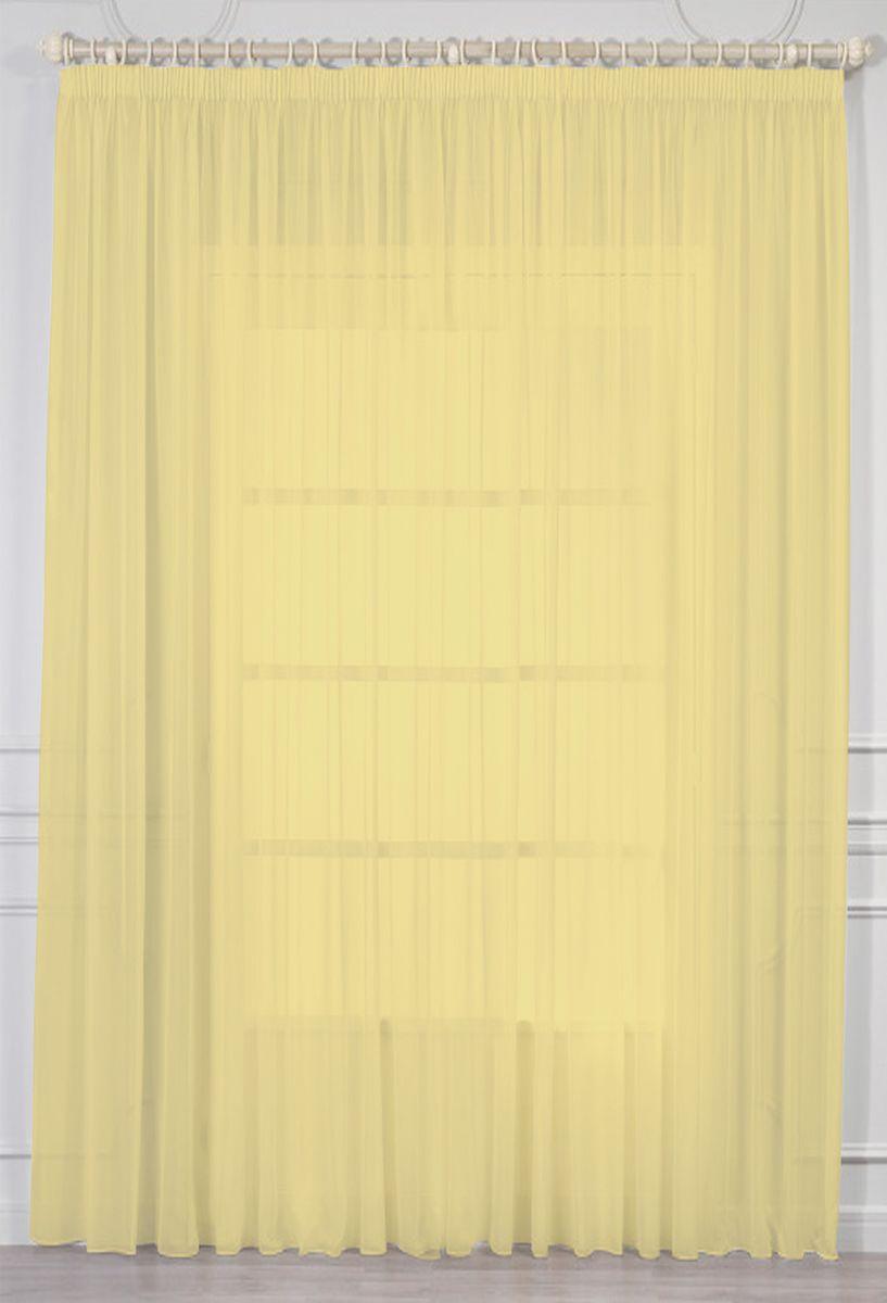Тюль Amore Mio Батист, на ленте, цвет: желтый, высота 270 см. МТХ 961-0573530Тюль Amore Mio изготовлен из 100% полиэстера. Воздушная ткань привлечет к себе внимание и идеально оформит интерьер любого помещения. Полиэстер - вид ткани, состоящий из полиэфирных волокон. Ткани из полиэстера легкие, прочные и износостойкие. Такие изделия не требуют специального ухода, не пылятся и почти не мнутся.Крепление к карнизу осуществляется при помощи вшитой шторной ленты.