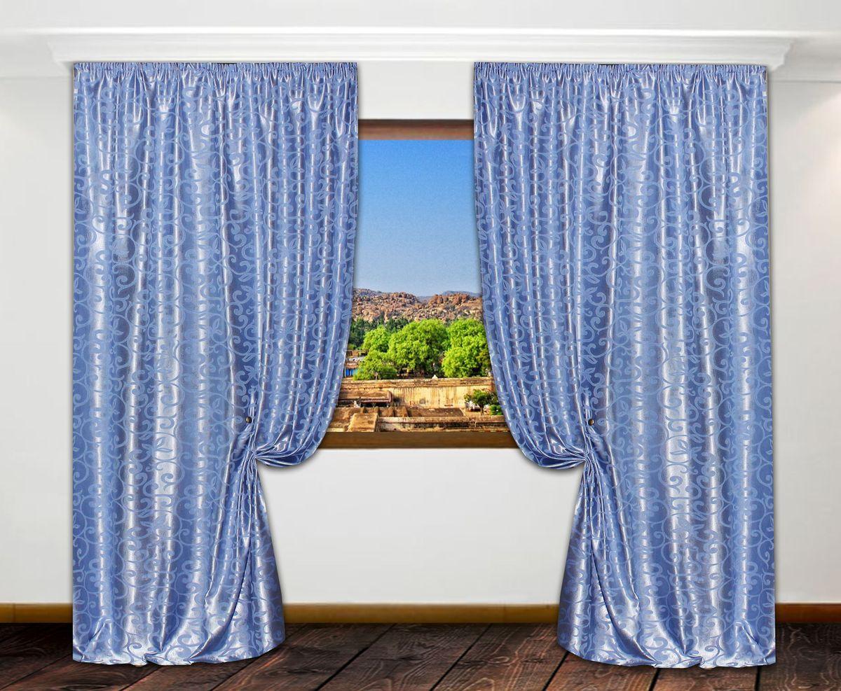 Портьеры Amore Mio, цвет: голубой, высота 270 см, 2 шт. МТХ 837-11 FY74225Комплект штор на шторной ленте из мягкой плотной ткани жаккард. Основа полотна состоит из чередующихся синих и белых нитей. Украшение штор - узор выполненный голубой нитью с нежным сатиновым блеском.