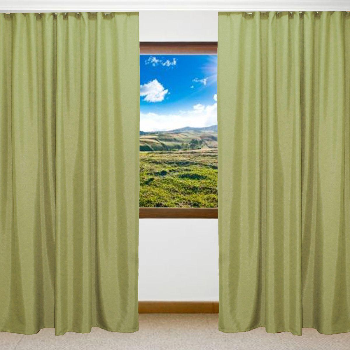 Комплект штор Amore Mio, цвет: зеленый, высота 270 см, 2 шт. RR 8152-1674445
