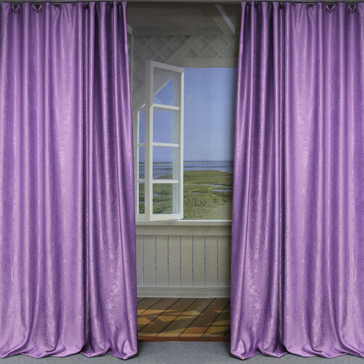 Комплект штор Amore Mio, цвет: сиреневый, высота 270 см, 2 шт. RR 8156-602974453