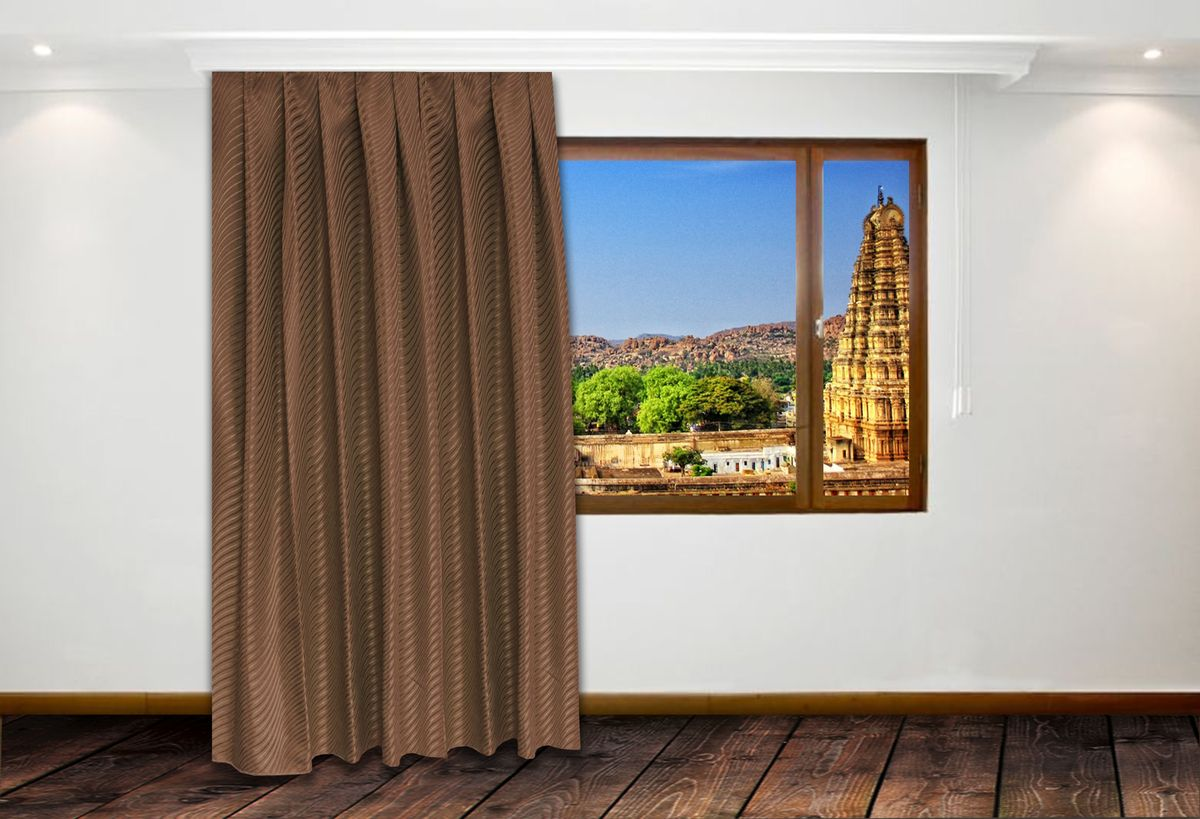 Портьера Amore Mio, на ленте, цвет: коричневый, высота 270 см. RR Н9881-3790175Жаккардовое полотно с абстрактным рисунком в виде волны. Изделие на шторной ленте