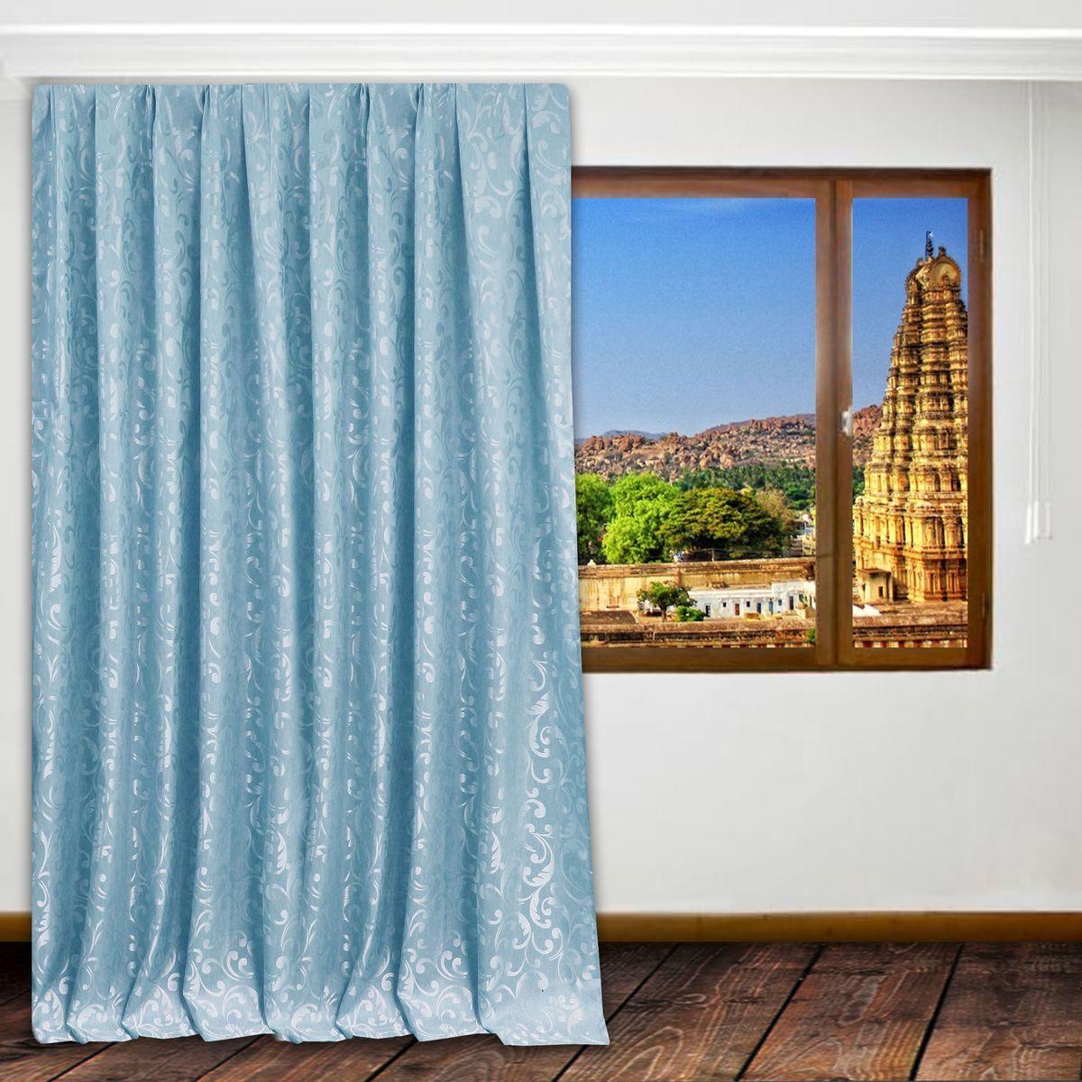 Портьера Amore Mio, цвет: бирюзовый, высота 270 см. RR 655-6676413Штора на шторной ленте из мягкой плотной ткани жаккард. Основа полотна состоит из чередующихся голубых и темно-серых нитей. Украшение штор - узор выполненный голубой нитью с нежным сатиновым блеском.