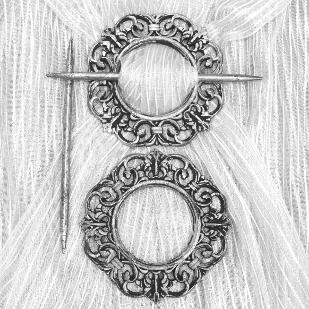 Заколка для штор TexRepublic Kryg, цвет: серебристый, 2 шт. MI C3-1279035Кольцо декоративное - красивая и стильная заколка, удерживающая шторы.