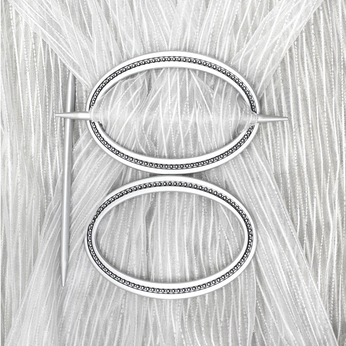 Заколка для штор TexRepublic Oval, цвет: серебристый, 2 шт. 7903682009Заколка TexRepublic Oval, выполненная из высококачественного пластика, предназначена для фиксации штор или для формирования декоративных складок на ткани. С ее помощью можно зафиксировать шторы или скрепить их, придать им требуемое положение, сделать симметричные складки. Заколка для штор является универсальным изделием, которое превосходно подойдет для любых видов штор. Изделие придаст шторам восхитительный, стильный внешний вид и добавит уют в интерьер помещения. В комплекте 2 заколки.