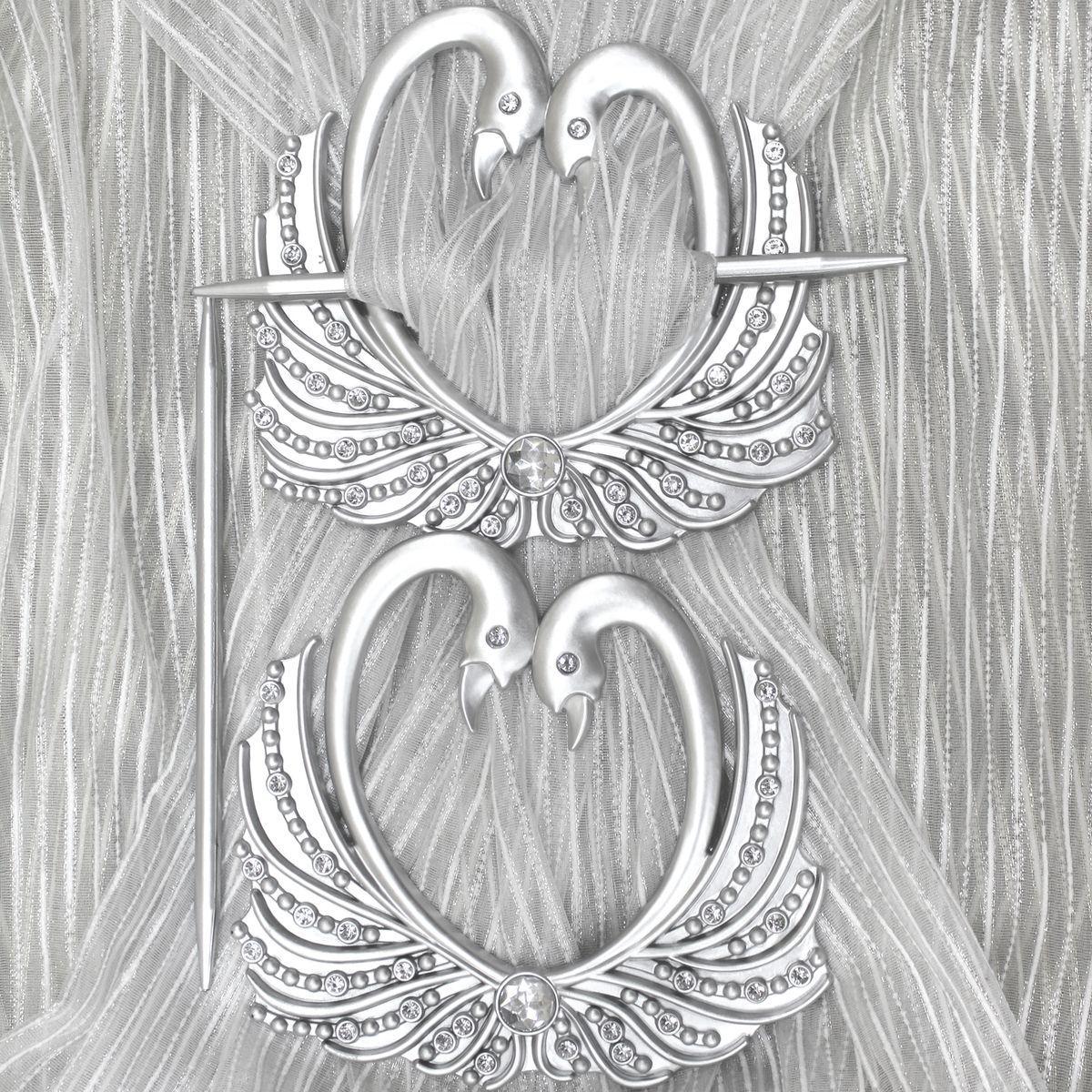 Заколка для штор TexRepublic Lebedi, цвет: серебристый, 2 шт. MI C8-179040Кольцо декоративное - красивая и стильная заколка, удерживающая шторы.