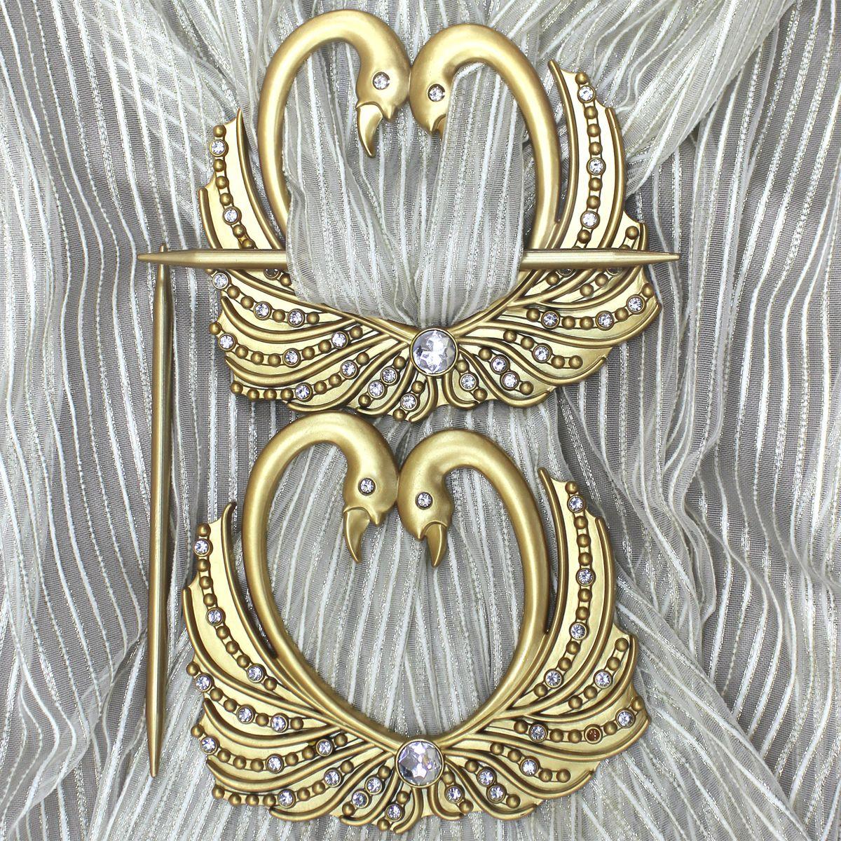 Заколка для штор TexRepublic Lebedi, цвет: золотистый, 2 шт. MI C8-279041Кольцо декоративное - красивая и стильная заколка, удерживающая шторы.