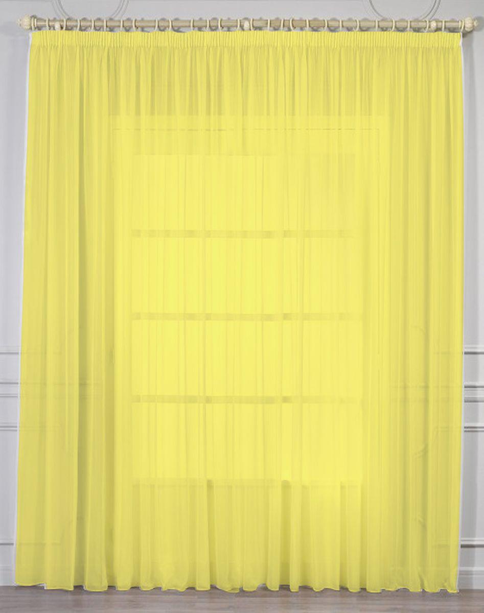 Тюль Amore Mio, цвет: желтый, высота 270 см. RR 10987000Тюль из однотонной вуали Amore Mio - классика украшения окон. Матовая вуаль ярко желтого цвета отлично сочетается с печатными и жаккардовыми портьерами. Универсальный размер - подойдет на окно от 2 до 3,5 метров шириной. Изделие на шторной ленте и готово к использованию.