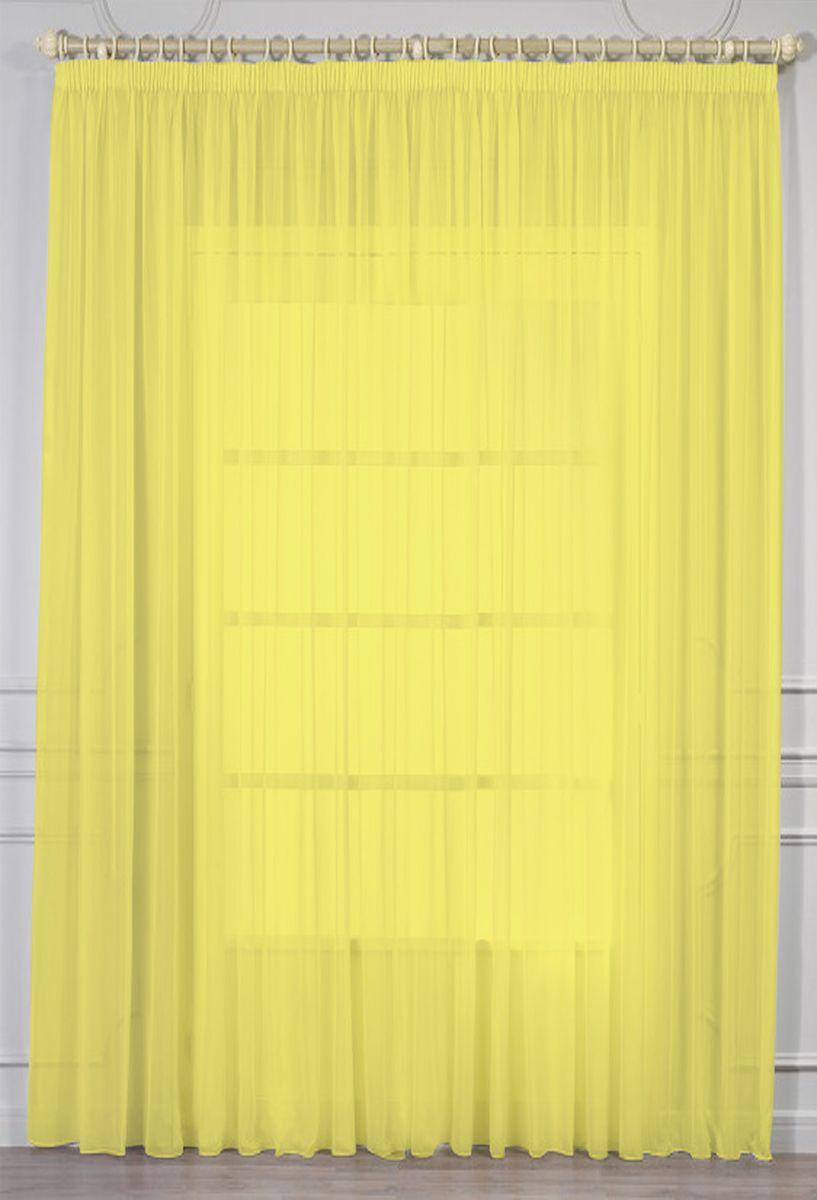 Тюль Amore Mio, на ленте, цвет: желтый, высота 270 см. RR 10987001Тюль из однотонной вуали Amore Mio - классика украшения окон. Матовая вуаль ярко желтого цвета отлично сочетается с печатными и жаккардовыми портьерами. Изделие на шторной ленте и готово к использованию.