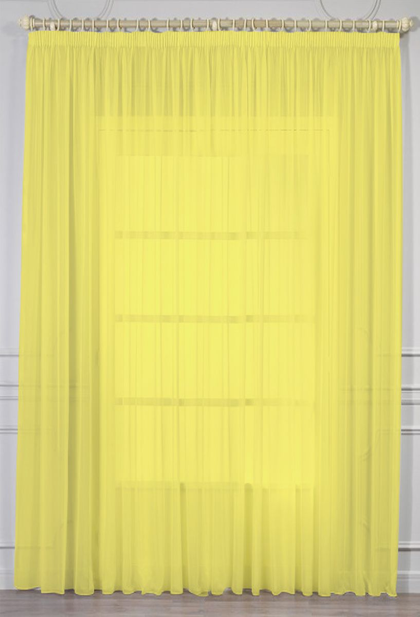 Тюль Amore Mio, на ленте, цвет: желтый, высота 270 см. RR 109 гардина тюль lara на ленте цвет желтый высота 250 см