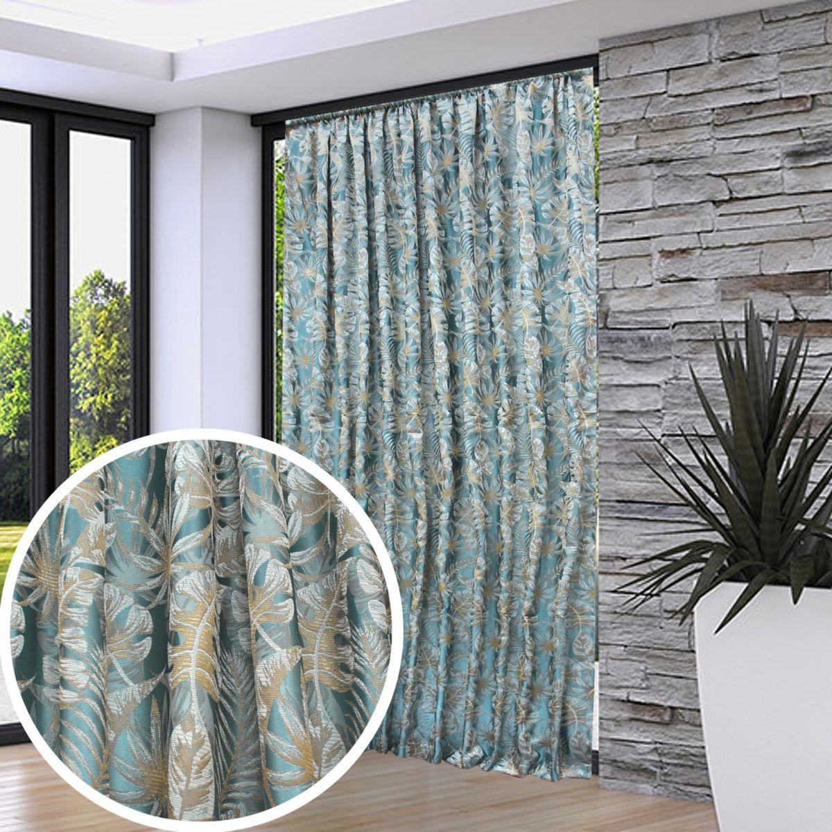 Портьера Amore Mio изготовлена из высокоплотной жаккардовой ткани с самым модным в этом сезоне изображением тропического лиственного леса. Ткань изготовлена в Турции, идеально подобраны оттенки, отлично драпируется. Изделие на шторной ленте и готово к использованию.
