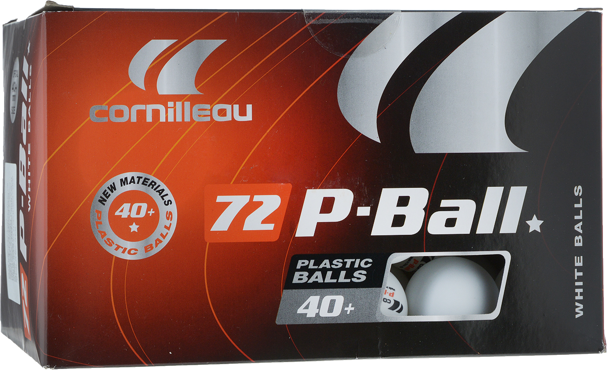 Мячи для настольного тенниса Cornilleau  P-Ball Pro. 40+ , цвет: белый, 72 шт - Настольный теннис