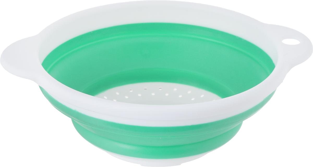Дуршлаг Идея, складной, цвет: белый, изумрудный. CLD-02CLD-02_изумрудныйДуршлаг складной Идея, изготовленный извысококачественного пищевого пластика и силикона, станетполезным приобретением для вашей кухни. Онидеально подходит для процеживания, ополаскиваниямакарон, овощей, фруктов.Нельзя мыть и сушить в посудомоечной машине. Внутренний диаметр: 18 см.Размер (в разложенном виде): 23 х 20 х 9 см. Размер (в сложенном виде): 23 х 20 х 3 см.