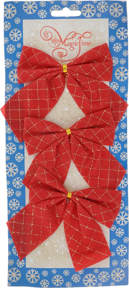 Украшение новогоднее Magic Time Банты, 10 х 10 см, 3 шт76245Новогоднее украшение Magic Time Банты отлично подойдет для декорации вашего дома и новогодней ели. В наборе 3 банта, выполненных из полиэстера.Украшения фиксируются при помощи металлизированной прочной фольги.Елочная игрушка - символ Нового года. Она несет в себе волшебство и красоту праздника. Создайте в своем доме атмосферу веселья и радости, украшая всей семьей новогоднюю елку нарядными игрушками, которые будут из года в год накапливать теплоту воспоминаний.Размер банта: 10 х 10 см.