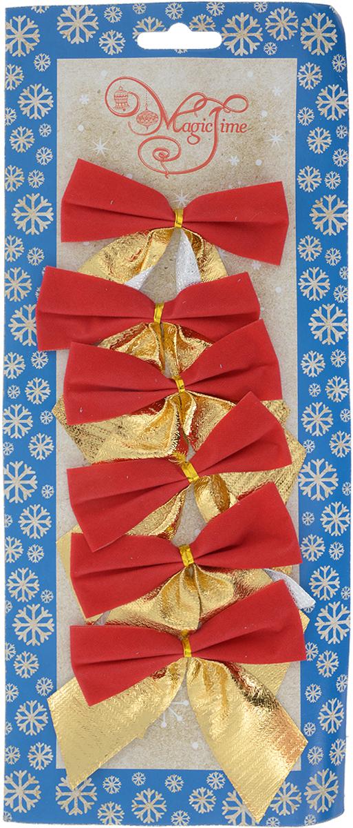 Украшение новогоднее Magic Time Банты, 8 х 8 см, 6 шт76244Новогоднее украшение Magic Time Банты отлично подойдет для декорации вашего дома и новогодней ели. В наборе 6 бантиков, выполненных из полиэстера.Украшения фиксируются при помощи металлизированной прочной фольги.Елочная игрушка - символ Нового года. Она несет в себе волшебство и красоту праздника. Создайте в своем доме атмосферу веселья и радости, украшая всей семьей новогоднюю елку нарядными игрушками, которые будут из года в год накапливать теплоту воспоминаний.Размер банта: 8 х 8 см.