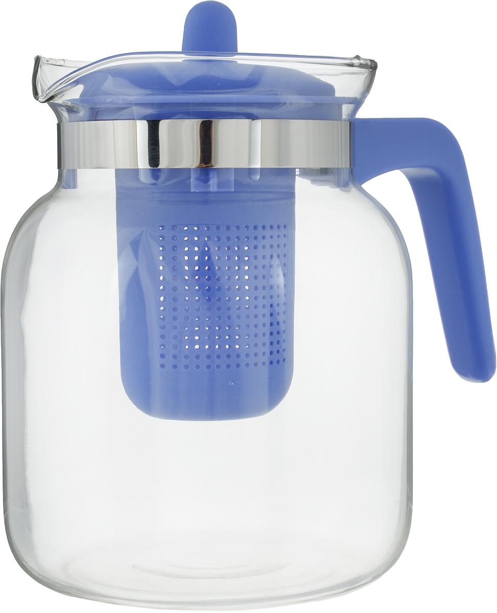 Чайник-кувшин Menu Чабрец, с фильтром, цвет: прозрачный, фиолетовый, 1,45 лCHZ-14_фиолетовыйЧайник-кувшин Menu Чабрец изготовлен из прочного стекла, которое выдерживает температуру до 100 °C. Он прекрасно подойдет для заваривания чая и травяных настоев. Классический стиль и оптимальный объем делают чайник удобным и оригинальным аксессуаром, который прекрасно подойдет для ежедневного использования. Ручка изделия выполнена из пищевого пластика, она не нагревается и обеспечивает безопасность использования. Благодаря съемному ситечку и оптимальной форме колбы, чайник-кувшин Menu Чабрец идеально подходит для использования его в качестве кувшина для воды и прохладительных напитков.Не рекомендуется использовать в посудомоечной машине.Диаметр чайника (по верхнему краю): 10,3 см.Общий диаметр чайника: 11 см.Высота чайника (без учета ручки и крышки): 15,6 см.Высота чайника (с учетом ручки и крышки): 17 см.Высота фильтра: 8,5 см.к
