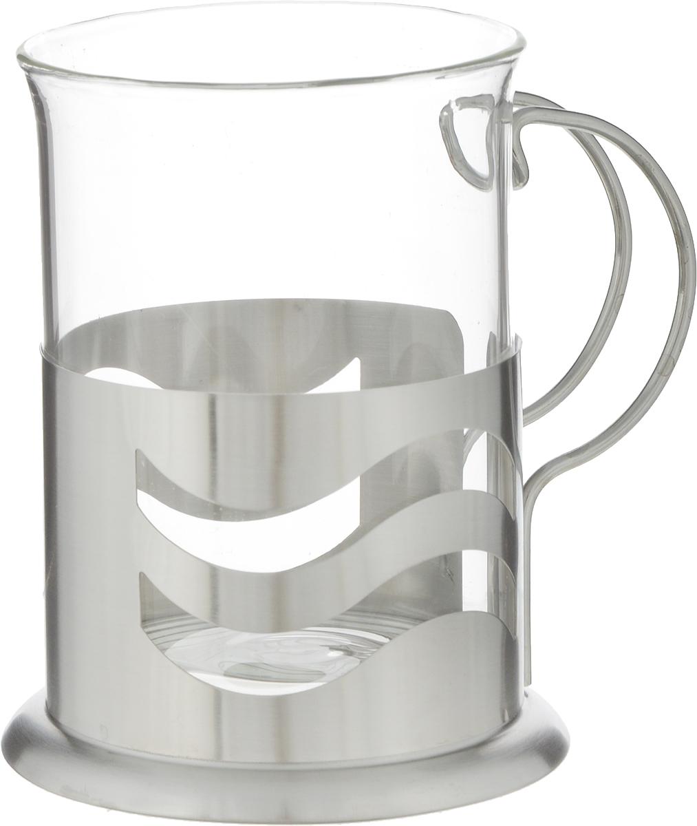 Стакан Teco Волна, с подстаканником, 200 млTC-G020_волнаСтакан Teco Волна изготовлен из термостойкого прочного стекла и оснащен металлическим подстаканником. Удобный стакан прекрасно подойдет для домашнего чаепития, его также можно взять с собой в дорогу или на пикник.Диаметр стакана: 6,5 см.Высота: 9,5 см.Диаметр основания: 7,5 см.