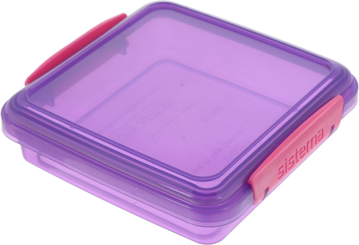 Контейнер для сэндвичей Sistema, цвет: прозрачный фиолетовый, розовый, 450 мл31646_фиолетовый, розовыйКонтейнер Sistema, изготовленный из высококачественного пластика, предназначен, для сэндвичей и бутербродов. Изделие плотно и герметично закрывается, благодаря двум защелкам по бокам и силиконовой прослойке в крышке.Подходит для использования в микроволновой печи и для хранения в холодильнике.Можно мыть в посудомоечной машине.Размер контейнера (без чета крышки): 14,3 х 14,3 х 3,5 см.