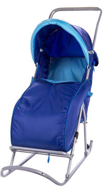 Фея Санки-коляска Метелица Люкс с тентом цвет синий голубой