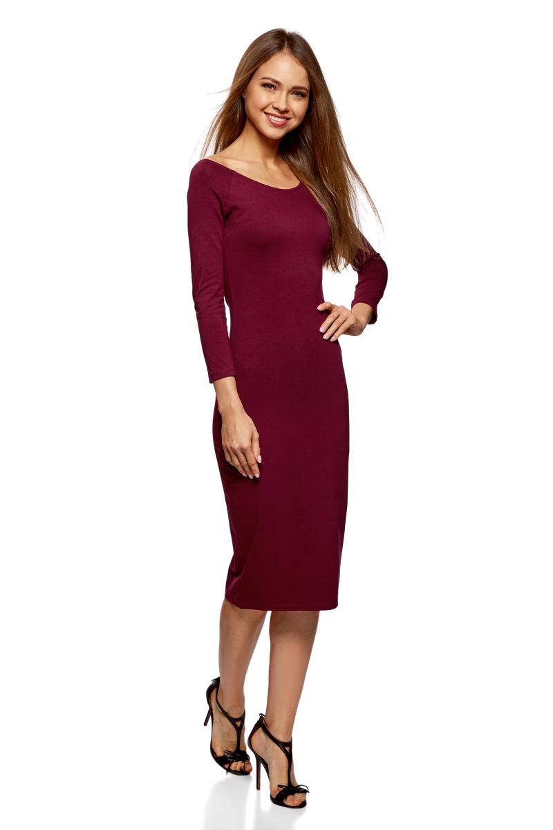 Платье oodji Ultra, цвет: бордовый, 2 шт. 14017001T2/47420/4900N. Размер XL (50)14017001T2/47420/4900NСтильное платье oodji изготовлено из качественного смесового материала. Облегающая модель с горловиной-лодочкой и рукавами 3/4. В наборе 2 платья.